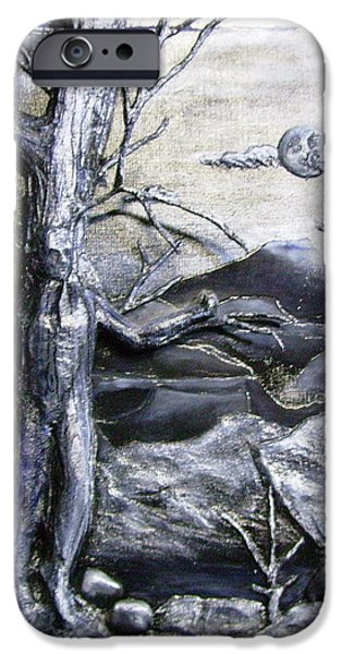 Cardboard Mixed Media iPhone Cases - 3D Tree man in Moonlight Relief iPhone Case by Jan Wendt