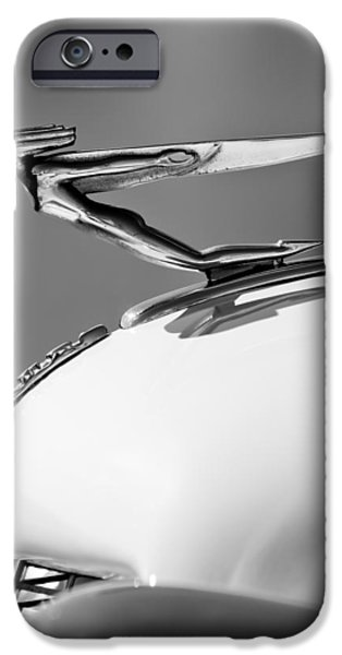 Auburn iPhone Cases - 1935 Auburn Hood Ornament -0297BW iPhone Case by Jill Reger
