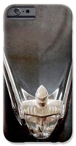 Lincoln iPhone Cases - 1956 Lincoln Premiere Convertible Hood Ornament iPhone Case by Jill Reger