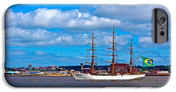 Tall Ship Mixed Media iPhone Cases - A digitally constructed painting of a tall ships on the River Mersey Liverpool UK iPhone Case by Ken Biggs