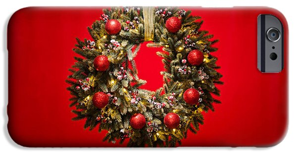 Christmas Eve iPhone Cases - Advent wreath over red background iPhone Case by Ulrich Schade