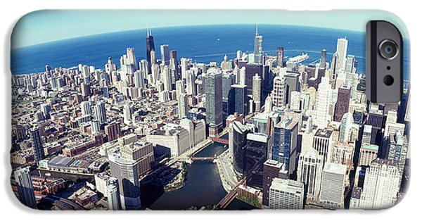 Willis Tower iPhone Cases - Aerial View Of A Cityscape With Lake iPhone Case by Panoramic Images