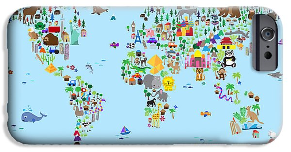 Childrens iPhone Cases - Animal Map of the World for children and kids iPhone Case by Michael Tompsett