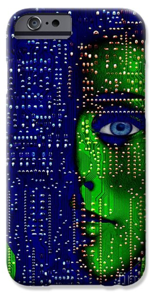 Printed Circuit Board iPhone Cases - Artificial Intelligence, Conceptual Image iPhone Case by Victor De Schwanberg