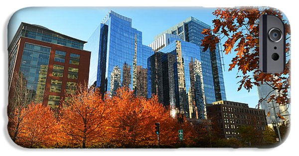Oxford. Oxford Ma. Massachusetts iPhone Cases - Autumn in Boston iPhone Case by Toby McGuire