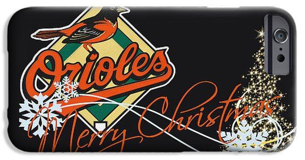 Santa iPhone Cases - Baltimore Orioles iPhone Case by Joe Hamilton