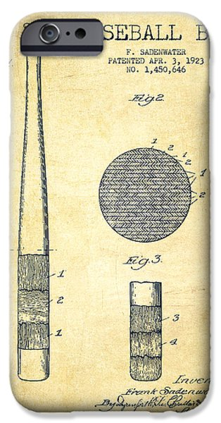 Baseball Glove iPhone Cases - Baseball Bat Patent Drawing From 1923 iPhone Case by Aged Pixel