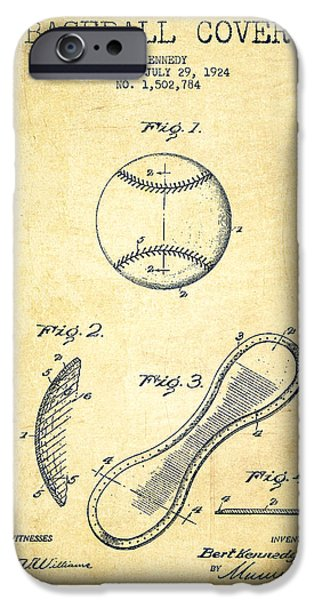 Base Ball iPhone Cases - Baseball Cover Patent Drawing From 1924 iPhone Case by Aged Pixel