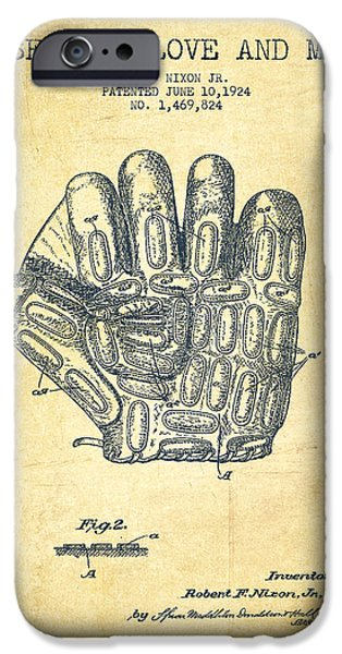 Baseball Glove iPhone Cases - Baseball Glove Patent Drawing From 1924 iPhone Case by Aged Pixel