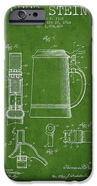 Stein iPhone Cases - Beer Stein Patent from 1914 - Green iPhone Case by Aged Pixel