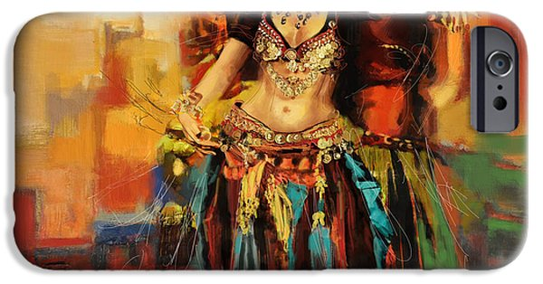 Moroccan iPhone Cases - Belly Dancer 9 iPhone Case by Corporate Art Task Force