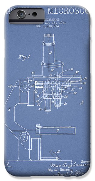 Microscope iPhone Cases - Binocular Microscope Patent Drawing from 1931 - Light Blue iPhone Case by Aged Pixel