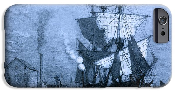 Pirate Ship iPhone Cases - Blame It On The Rum Schooner iPhone Case by John Stephens