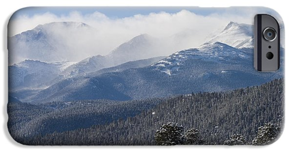 Pines iPhone Cases - Blizzard Peak iPhone Case by Steve Krull