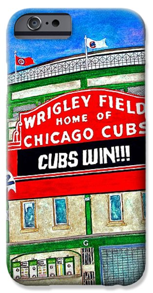 Chicago Paintings iPhone Cases - Blue Skies Over Wrigley iPhone Case by Janet Immordino