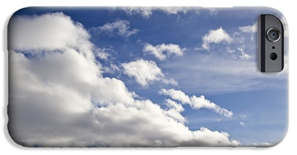 Blue Abstracts iPhone Cases - Blue sky and white clouds  iPhone Case by IB Photo