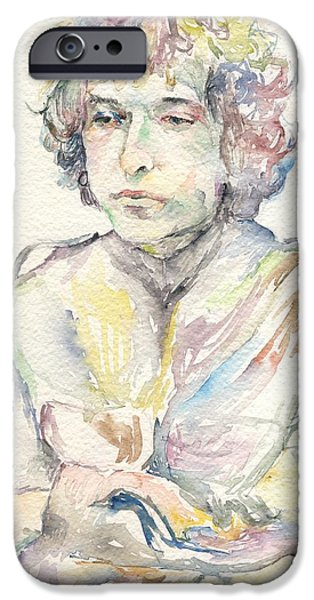 Mick Jagger Paintings iPhone Cases - Bob Dylan iPhone Case by Marina Sotiriou
