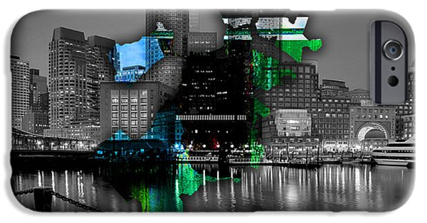 Boston iPhone Cases - Boston Map and Skyline Watercolor iPhone Case by Marvin Blaine