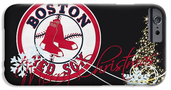 Baseball Glove iPhone Cases - Boston Red Sox iPhone Case by Joe Hamilton