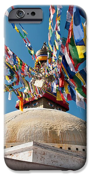 Tibetan Buddhism iPhone Cases - Boudhanath Stupa  iPhone Case by Ulrich Schade