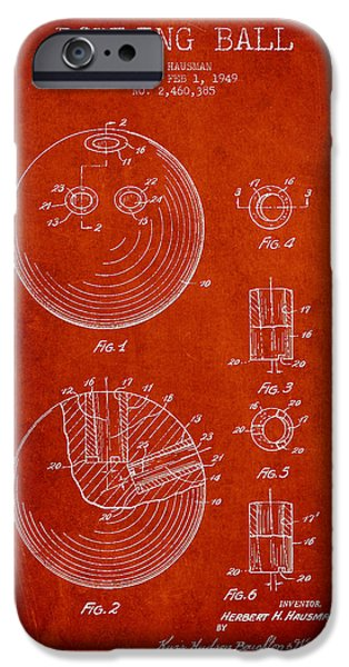 Bowling iPhone Cases - Bowling Ball Patent Drawing from 1949 iPhone Case by Aged Pixel