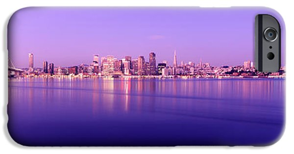 Bay Bridge iPhone Cases - Bridge Across A Bay With City Skyline iPhone Case by Panoramic Images