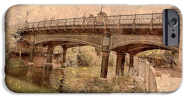 Covered Bridge Pyrography iPhone Cases - Bridge iPhone Case by Girish J