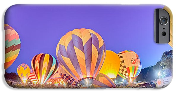 Stripes iPhone Cases - Bright Hot Air Balloons Glowing at Night iPhone Case by Alexandr Grichenko