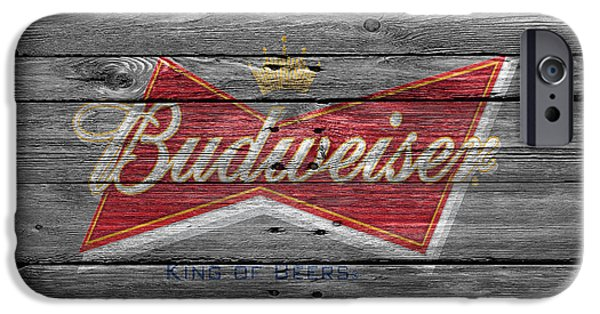 Saloons iPhone Cases - Budweiser iPhone Case by Joe Hamilton