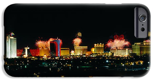 Fireworks iPhone Cases - Buildings Lit Up At Night, Las Vegas iPhone Case by Panoramic Images