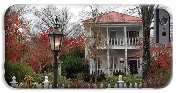 Balcony iPhone Cases - Charleston Historical Victorian Mansion - Charleston Autumn Fall Trees and White Picket Fence iPhone Case by Kathy Fornal