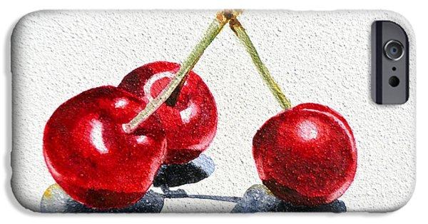 Nature Study iPhone Cases - Cherries iPhone Case by Irina Sztukowski