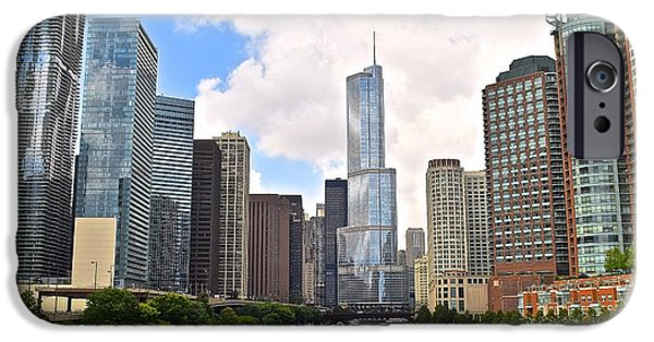 Willis Tower iPhone Cases - Chicago Panorama iPhone Case by Frozen in Time Fine Art Photography