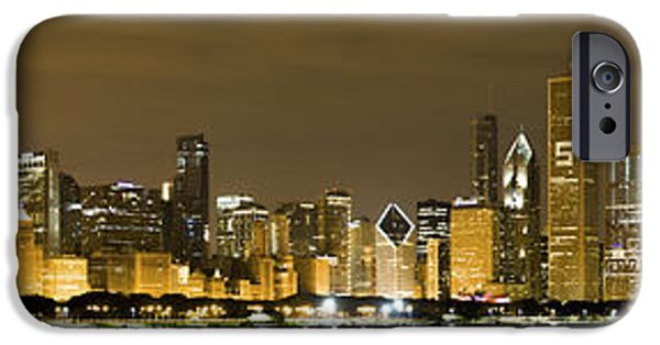 Windy City iPhone Cases - Chicago Skyline at Night iPhone Case by Sebastian Musial
