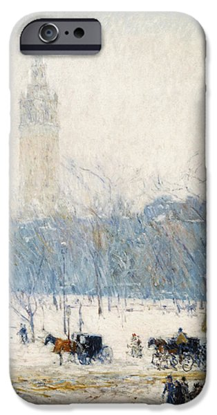 Childe iPhone Cases - Winter in Union Square iPhone Case by Childe Hassam