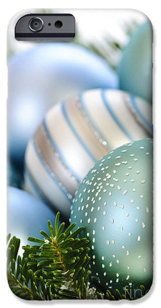 Festivities iPhone Cases - Christmas ornaments iPhone Case by Elena Elisseeva
