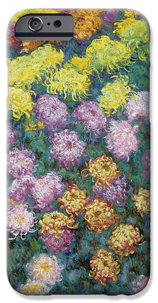 Tasteful Art iPhone Cases - Chrysanthemums iPhone Case by Claude Monet