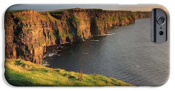 Cliff iPhone Cases - Cliffs of Moher sunset Ireland iPhone Case by Pierre Leclerc Photography