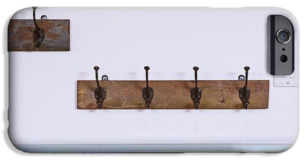 Coat Hanger iPhone Cases - Coat hooks iPhone Case by Tom Gowanlock