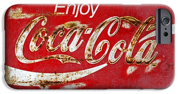 Coca-cola Signs iPhone Cases - Coca Cola Vintage Rusty Sign Black Border iPhone Case by John Stephens