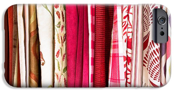 Bed Linens iPhone Cases - Colorful fabrics iPhone Case by Tom Gowanlock