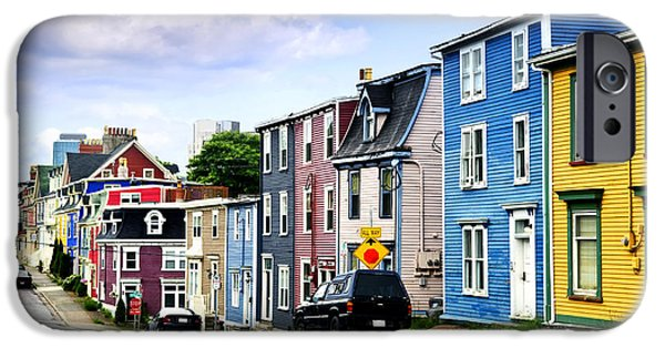Newfoundland iPhone Cases - Colorful houses in St. Johns iPhone Case by Elena Elisseeva