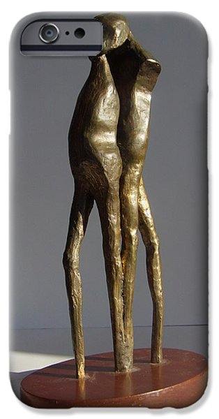 Figure Sculptures iPhone Cases - Two One Head v II iPhone Case by Janet  Lipp