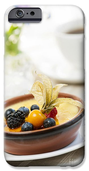 Berry iPhone Cases - Creme brulee dessert iPhone Case by Elena Elisseeva