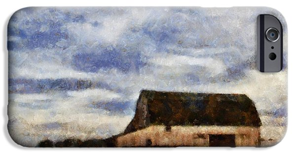 Field. Cloud Mixed Media iPhone Cases - Down On The Farm Ohio Country Scene iPhone Case by Dan Sproul