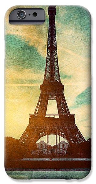 Eiffel Tower in Paris Fance in retro style iPhone Case by Michal Bednarek