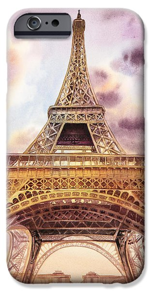 Paris Paintings iPhone Cases - Eiffel Tower Paris France iPhone Case by Irina Sztukowski