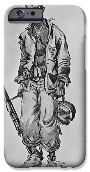 Concept Art Drawings iPhone Cases - Faces of World War II iPhone Case by Mountain Dreams