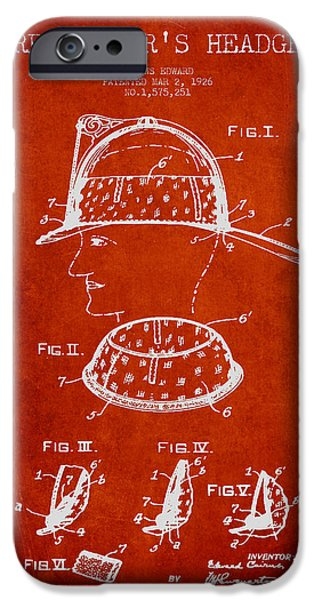 Gear Digital iPhone Cases - Firefighter Headgear Patent drawing from 1926 iPhone Case by Aged Pixel