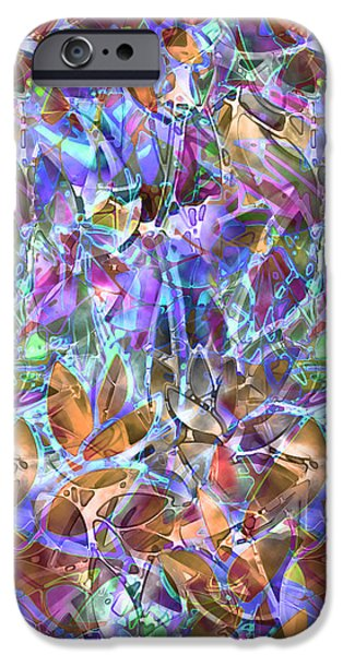 Plants Glass iPhone Cases - Floral Abstract Stained Glass iPhone Case by Medusa GraphicArt